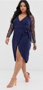 ντραπέ μπλε φόρεμα μεγάλο μέγεθος