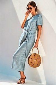 ολόσωμη φόρμα γαλάζια φαρδιά πέδιλα
