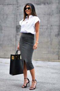 pencil φούστα γκρι πουκάμισο ντυθείς καλοκαίρι γραφείο