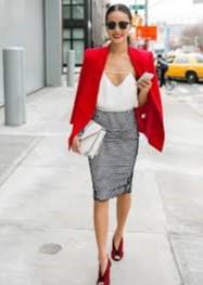 pencil φούστα γκρι πουκάμισο κόκκινο σακάκι ντυθείς καλοκαίρι γραφείο