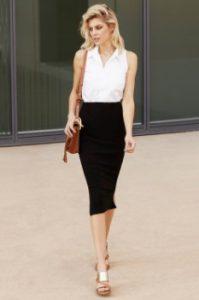 pencil φούστα μαύρη πουκάμισο ντυθείς καλοκαίρι γραφείο