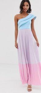 μοντέρνο δίχρωμο μακρύ φόρεμα