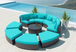 πολυμορφικός γαλάζιος καναπές