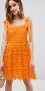 πορτοκαλί δαντελένιο φόρεμα