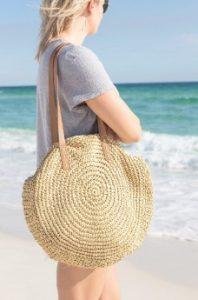 ψάθινη τσάντα στρογγυλή θάλασσα μπεζ λουρί