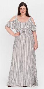 ριγέ plus size φόρεμα