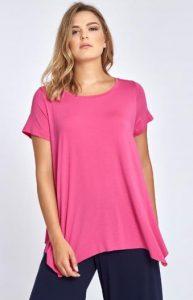 ροζ μονόχρωμη κοντομάνικη γυναικεία μπλουζα
