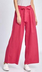 ροζ παντελόνα Celestino με ζώνη στη μέση
