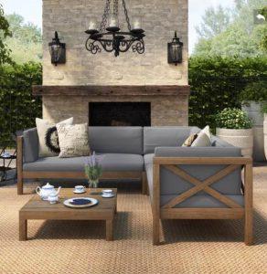 μοντέρνο σαλόνι εξωτερικού χώρου για το μπαλκόνι ή τον κήπο