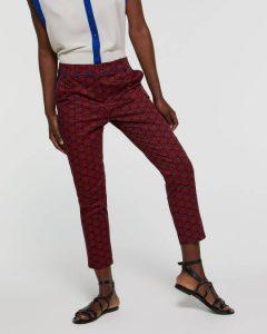 sisley παντελόνι κόκκινο εμπριμέ κοντό cropped καλοκαιρινή collection