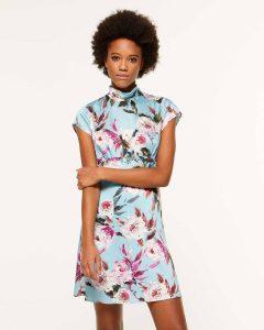 sisley φλοράλ μίνι φόρεμα λουλούδια καλοκαιρινή collection