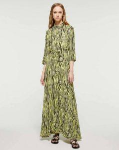 sisley λεοπάρ κίτρινο animal print μακρύ φόρεμα καλοκαιρινή collection