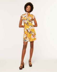 sisley φλοράλ κίτρινο κοντό μίνι φόρεμα λουλούδια καλοκαιρινή collection
