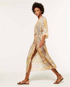 sisley εμπριμέ κίτρινο μακρύ μίντι φόρεμα λουλούδια καλοκαιρινή collection