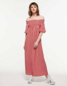 sisley πουά κόκκινο άσπρο μακρύ μάξι  φόρεμα λουλούδια καλοκαιρινή collection