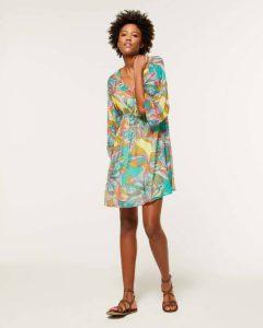 sisley φλοράλ μίνι φόρεμα καφτάνι λουλούδια καλοκαιρινή collection
