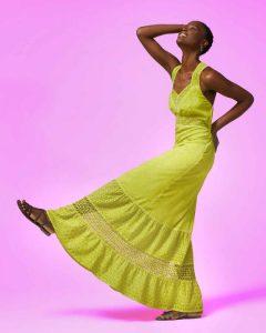 sisley κίτρινο μακρύ φόρεμα καλοκαιρινή collection