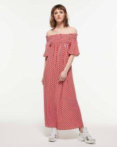 sisley κόκκινο μακρύ φόρεμα πράσινο καλοκαιρινή collection