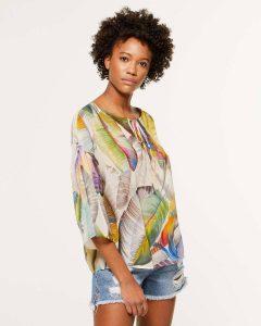 sisley καλοκαίρι μπλούζα φτερά πολύχρωμη
