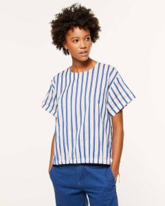 sisley καλοκαίρι μπλούζα μπλε ριγέ κοντομάνικη