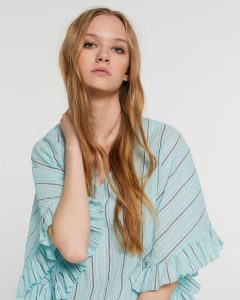 sisley καλοκαιρινή collection μπλούζα μπλέ ριγέ κοντομάνικη