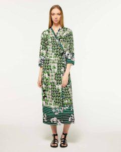 sisley φλοράλ μακρύ φόρεμα λουλούδια πράσινο καλοκαίρι