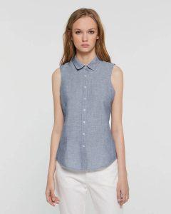 sisley καλοκαιρινή collection μπλούζα μπλέ πουκάμισο κοντομάνικο
