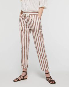 sisley παντελόνι ριγέ άσπρο καφέ καλοκαιρινή collection