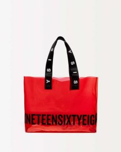 sisley τσάντα διάφανη κόκκινη μεγάλη καλοκαιρινή collection