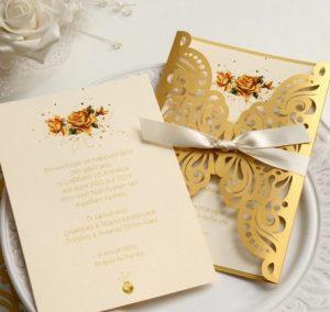 προσκλητηριο γαμου χρυσο μπεζ