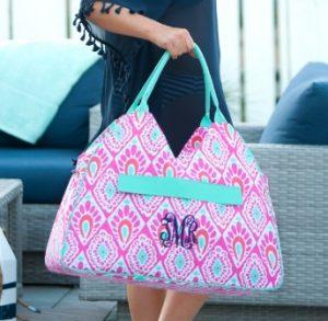 υφασμάτινη τσάντες ώμου εμπριμέ ροζ γαλάζιο