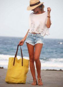 υφασμάτινη τσάντα θαλάσσης κίτρινη μεγάλη