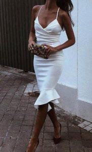 γυναικείο στενό άσπρο φόρεμα