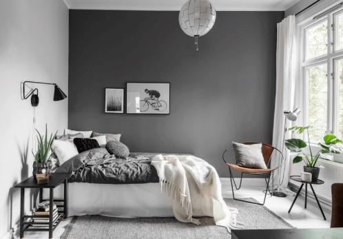 γκρι υπνοδωμάτιο κρεβάτι χρώμα χαρακτήρα