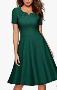 κοντομάνικο κυπαρισσί φόρεμα