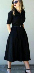 γυναικείο μαύρο φόρεμα με μακρύ μανίκι και ζώνη στη μέση