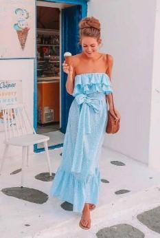 στράπλες γαλάζιο μάξι φόρεμα ρούχα και αξεσουάρ διακοπές νησί