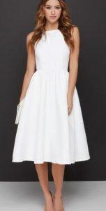 midi άσπρο γυναικείο φόρεμα