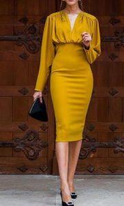 μουσταρδί εντυπωσιακό φόρεμα