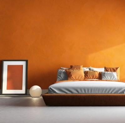πορτοκαλί τοίχος υπνοδωμάτιο κρεβάτι χρώμα χαρακτήρα