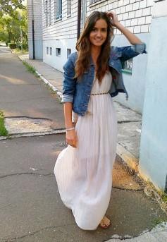 τζιν μπουφάν γαλάζιο άσπρο μακρύ φόρεμα