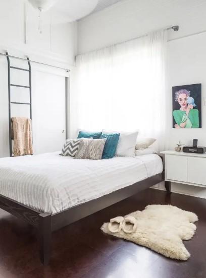 φωτεινό υπνοδωμάτιο ελαφριά κουρτίνα φυσικό φως