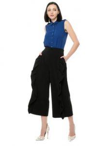 ζιπ κιλότ μαύρη ζώνη με βολάν μπλε μπλουζάκι