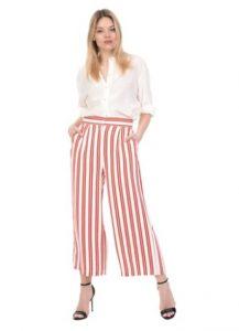 ριγέ crop παντελόνι άσπρο κόκκινο