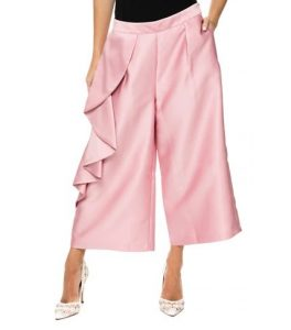 ροζ crop παντελόνι βολάν