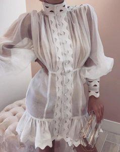 μίνι φόρεμα διαφάνεια μακρύ μανίκι