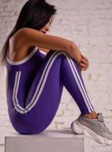 αθλητικό γυναικείο ολόσωμο με ρίγα στο πλάι
