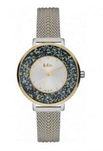 ρολόι με δίχρωμο χρυσό με ασημί ιδιαίτερο σχέδιο καντράν αδιάβροχα ρολόγια μπρασελέ