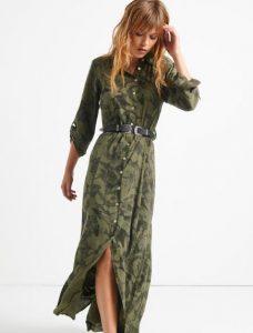 εμπριμέ γυναικείο φόρεμα μακρύ με κουμπιά