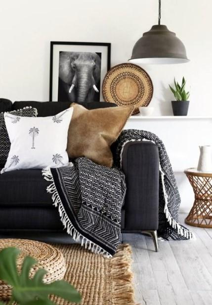 έθνικ διακόσμηση σαλόνι 2020 πίνακας καναπές διακοσμητικά
